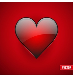 Red realistic heart Valentines day card vector image