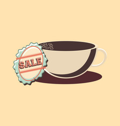 retro shopping coffee cup sale label vector image