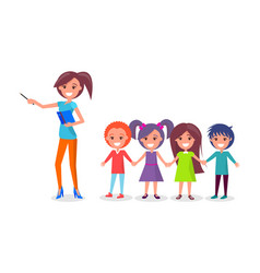 School children on excursion woman guide vector