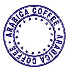 Scratched textured arabica coffee round stamp seal vector