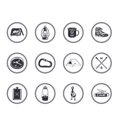 set of 12 camping silhouette icons and symbols vector image