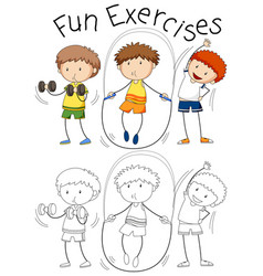 Set of doodle people excercise vector