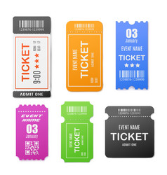 Set paper ticket or coupon mockups realistic vector