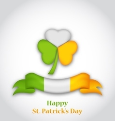 shamrock and ribbon in traditional Irish flag vector image
