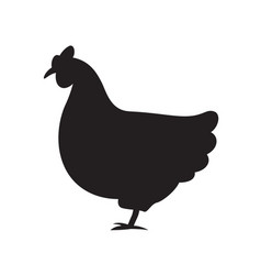silhouette of a hen flat vector image