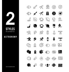 Simple line icons astronomy vector