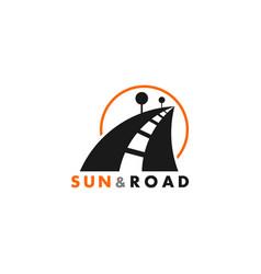 simple street sun road tree symbol geometric vector image