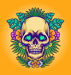 skull summer and exotic tropical flowers vector image