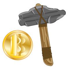 stone axe and virtual money bitcoin vector image