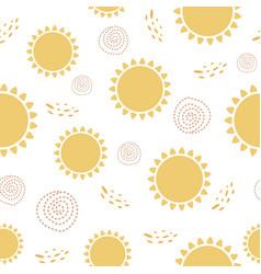 Sun seamless pattern cute sunny yellow summer vector