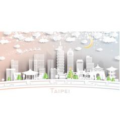 Taipei taiwan city skyline in paper cut style vector