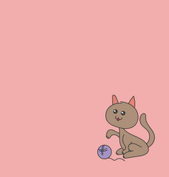 the cat playing with the ball vector image