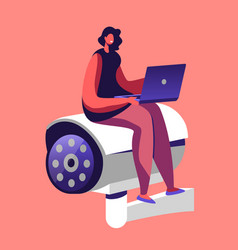 tiny female character with laptop in hands sit at vector image