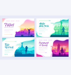 Tourists on the background of cities brochure vector