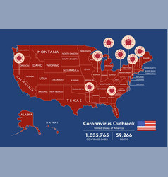 Usa map country coronavirus concept vector