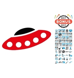 Visitors Spaceship Icon with 2017 Year Bonus vector image