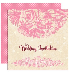Wedding invitation floral decoration over vintage vector image vector image