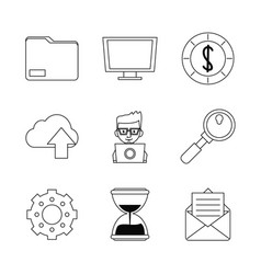 White background with monochrome marketing icons vector