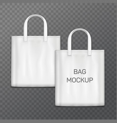 white realistic shoping bag template isolated on vector image