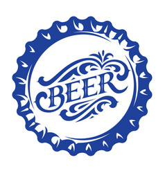 with stylized beer bottle cap vector image