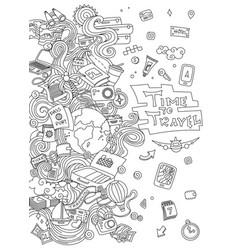 world travel set hand drawn simple vector image