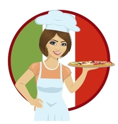 female chef holding pizza on tray vector image vector image