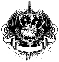 skull with crown wings and sword vector image vector image