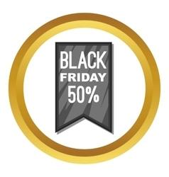 Black Friday sale ribbon icon vector image