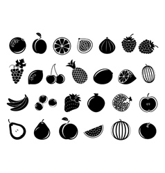 Black fruit icons vector image
