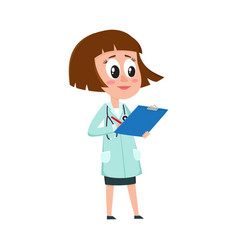 comic female woman doctor character with bob vector image vector image