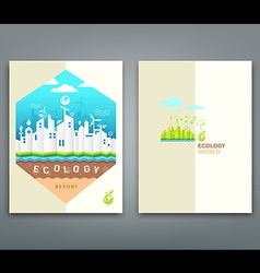 Cover annual report origami building ecology vector image vector image