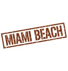 Miami beach brown square stamp vector