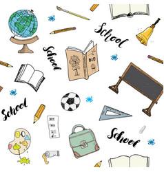 school seamless pattern handdrawn doodles vector image