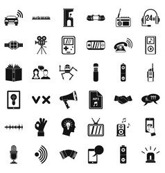 stereo music icons set simple style vector image