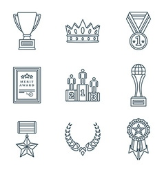 dark color outline various awards symbols icons vector image vector image