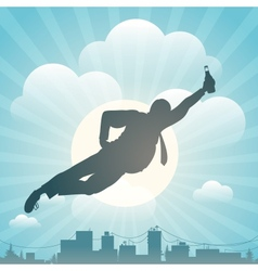 Silhouette of the man flying above city vector image