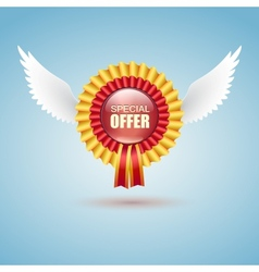 Badge Special offer with white wings vector image vector image