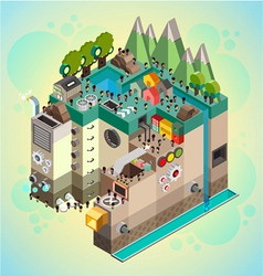 Flat 3d isometric board game with city building vector image