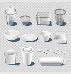 plastic dishware or disposable tableware 3d vector image