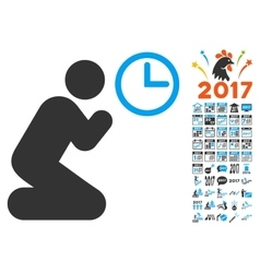 Pray Time Icon With 2017 Year Bonus Pictograms vector image vector image