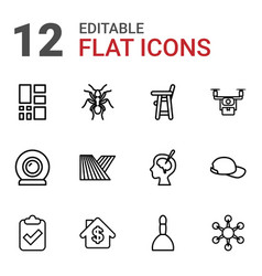 12 shadow icons vector