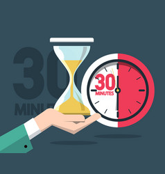 30 minutes clock timer time symbol with hourglass vector image