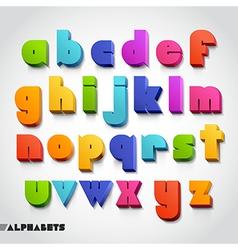 3D alphabet color font vector