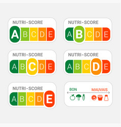 5-colour nutrition label nutri-score system in vector image