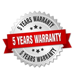 5 years warranty 3d silver badge with red ribbon vector image