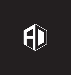 Ad logo monogram hexagon with black background vector