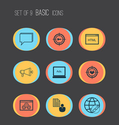 Advertising icons set collection of keyword vector