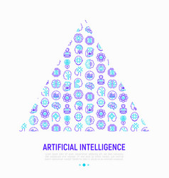 artificial intelligence concept in triangle vector image