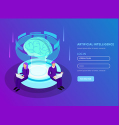 artificial intelligence isometric background vector image