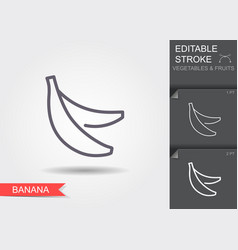 bananas line icon with editable stroke with vector image